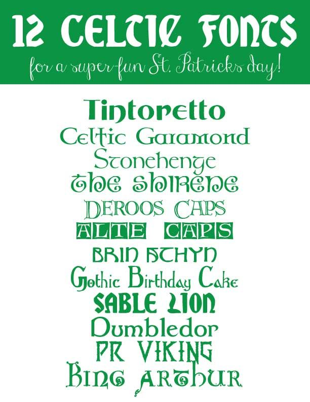 Celtic Fonts, St. Patty's Day fonts