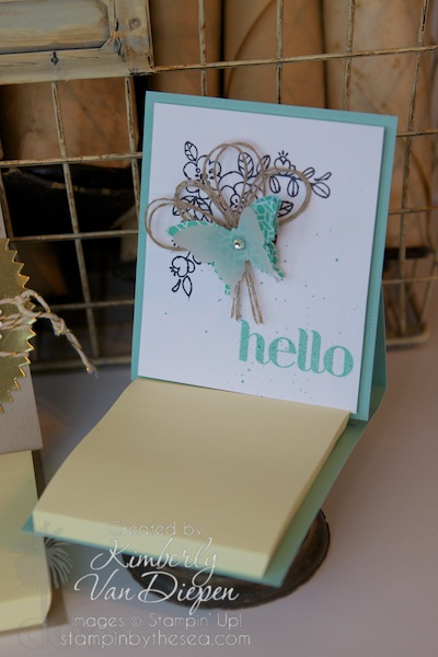 Simple 3D Post it Note Holder, Stampin' Up! So Very Grateful stamp set