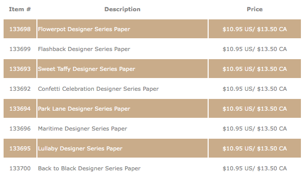 Designer Paper Promotion, Stampin' Up!