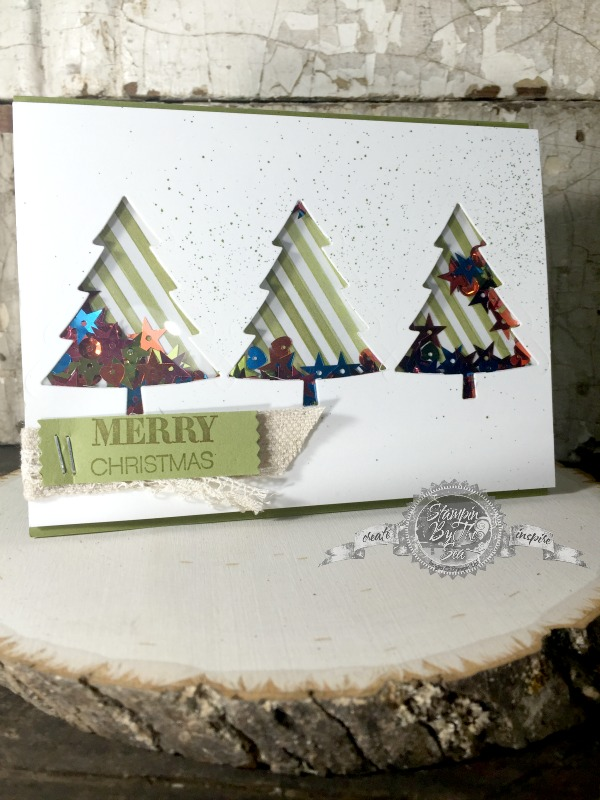 Peaceful Pines stamp set, Shaker Card, Stampin' Up!