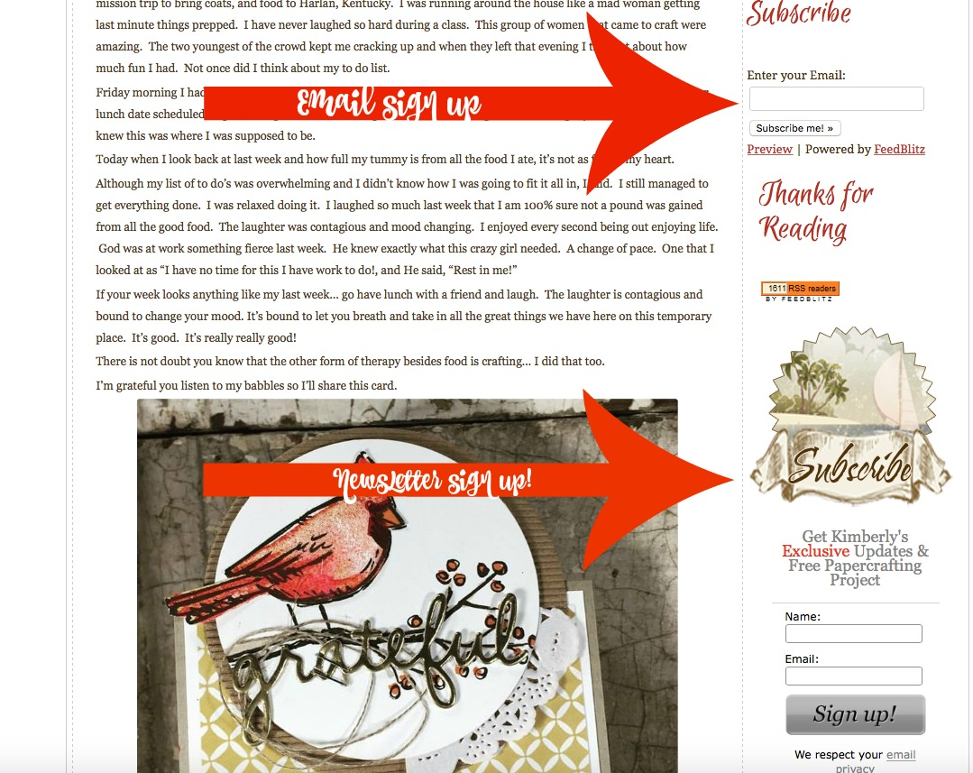 Sign Up for My Newsletter, Stampin' Up!
